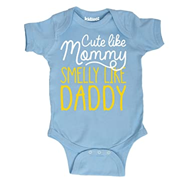 76ae2d51fcf Instant Message Cute Like Mommy Smell Like Daddy -Infant One Piece-NB Light  Blue
