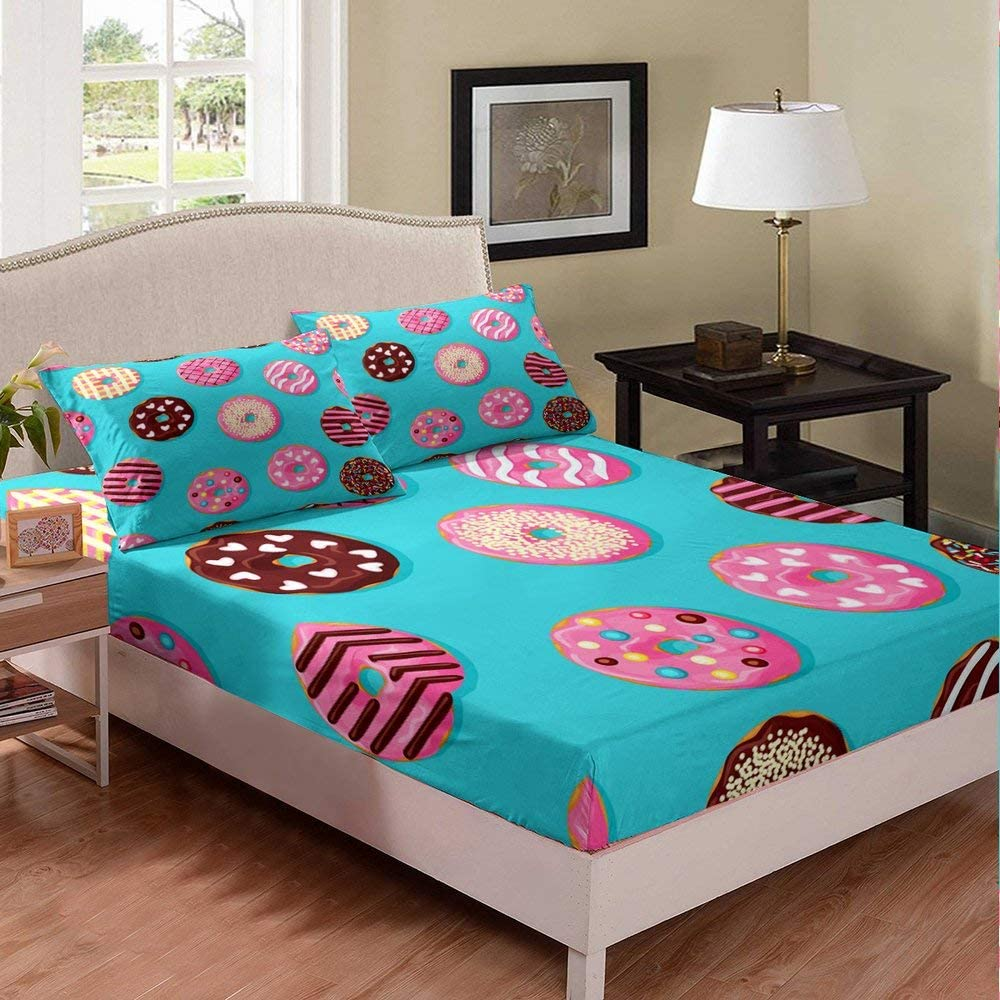 Castle Fairy Donuts Bed Sheet Girl Twin Mint Green Food Bedding Set Chic Mulit Color Dessert Chic Bed Cover Decorative Bed Sheet Set Deep Pocket Bed Covers Bedclothes 2Pcs Bedclothes