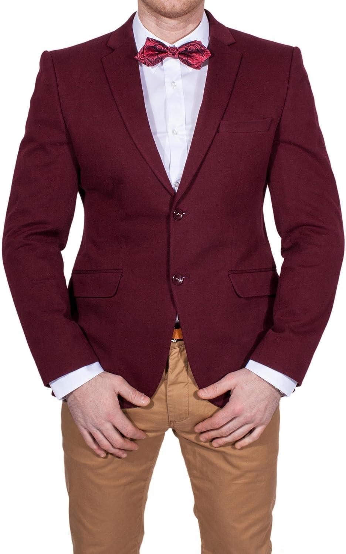 Wam Denim - Blazer - para Hombre Rojo Burdeos 52: Amazon.es: Ropa