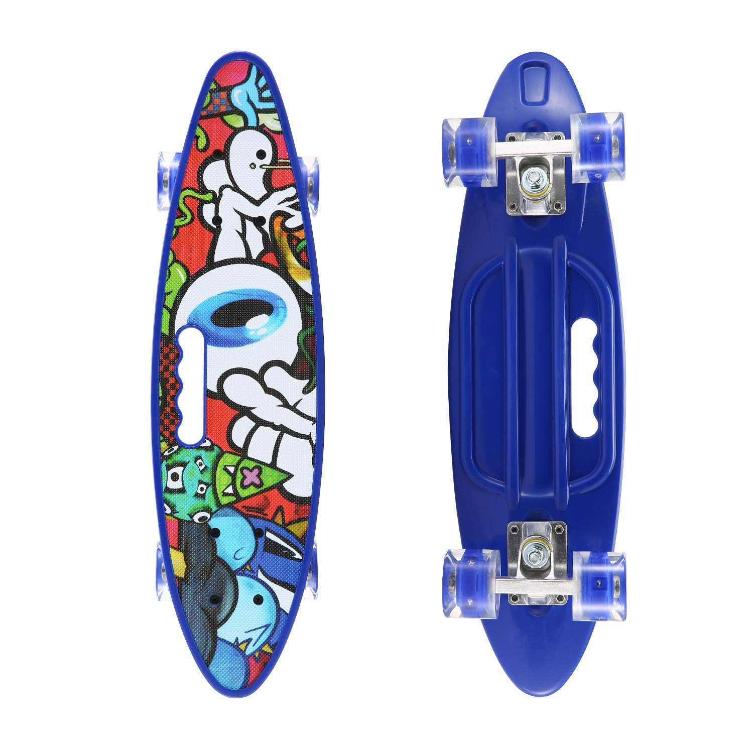 SANSIRP 23 Inches Plastic Skateboard, Complete Portable Mini Skateboards with Bendable Deck LED Light Up Wheels for Beginners Kids Adults