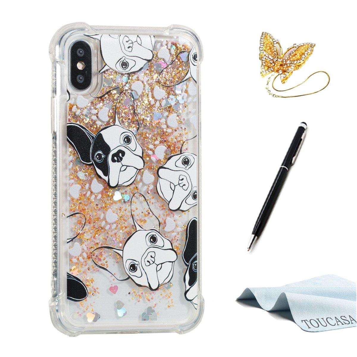 TOUCASA Funda iPhone X, Glitter Brillante Liquida Transparente TPU Silicona,Suave Gel Protectora Carcasa,Funda Móvil Case Líquido Quicksand Anti-arañazos ...