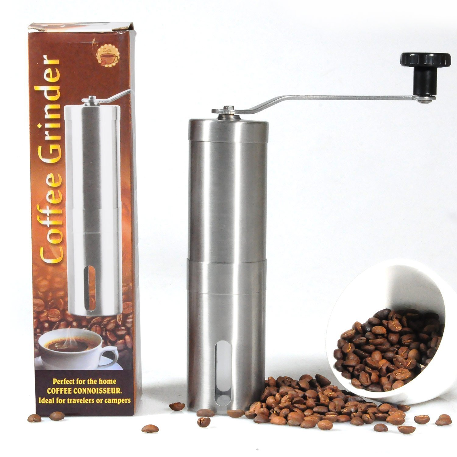 Lychee Manual Adjustable Ceramic Burr Coffee Grinder Portable Hand Crank High Quality Stainless Coffee Bean Grinder, Kitchen Condiment Grinder Lycheers