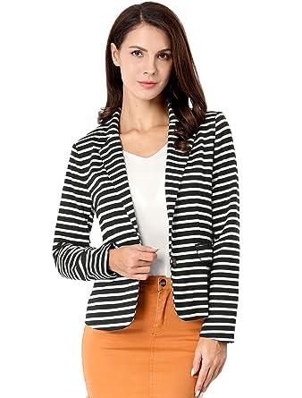 78f5b7080761 Allegra K Women's Notched Lapel Pocket Button Closure Striped Blazer Black  L (US ...