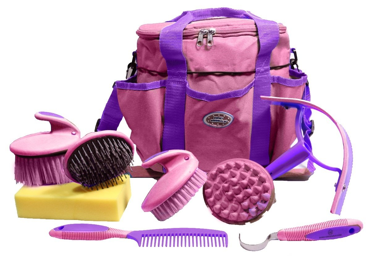 Derby Premium Comfort 9 Item Horse Grooming Kit (Purple Pink)