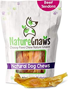 Nature Gnaws Tendons for Dogs - Premium Natural Beef Sticks - Simple Single Ingredient Tasty Dog Chew Treats - Rawhide Free - 4-5 Inch
