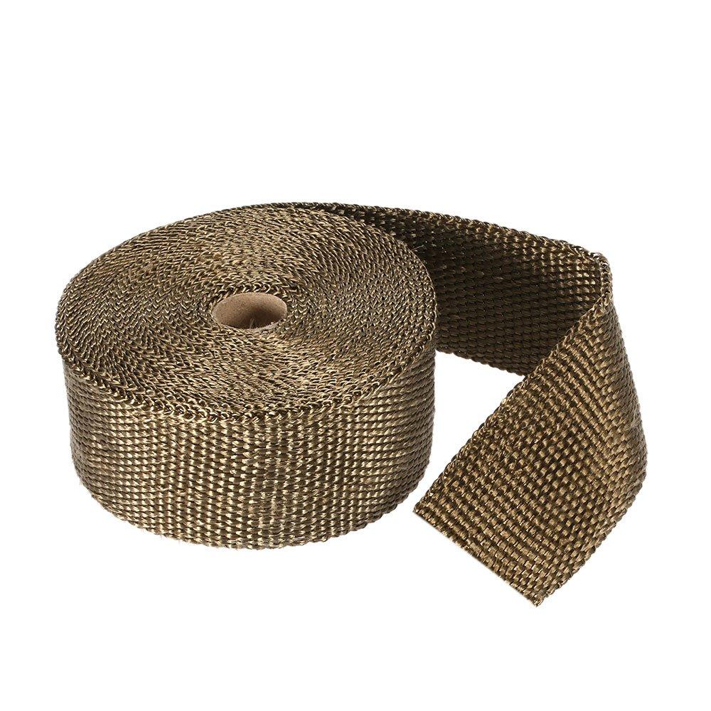 KKmoon 10m Bande Isolant Thermique Collecteur Echappement Fibre de Titane avec 10pcs 30 cm colliers de c/âble pour auto et moto