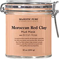 MAJESTIC PURE Moroccan Red Clay Facial Mud Mask with British Rose - Natural Skin Care Face Mask for Pore Cleansing and…
