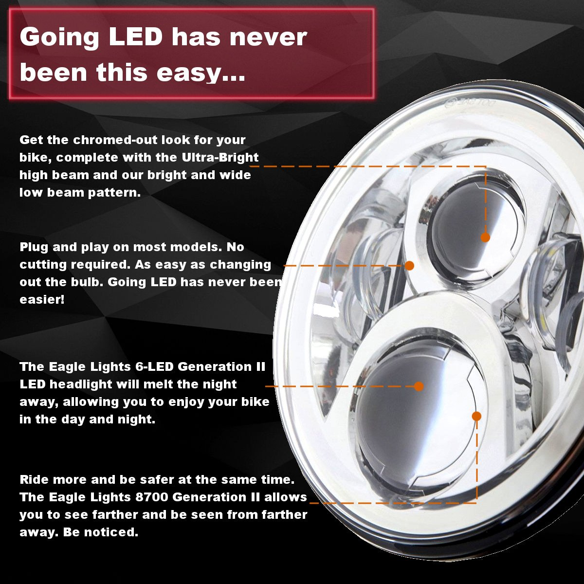 Eagle Lights 8700g2 7 Round Generation 2 Projection Led Exciting Scout Crafts 1 Or Headlamp Headlight For Harley Davidson Indian Motorcycle Chrome Automotive