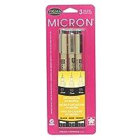 Sakura 30061 3-Piece Pigma Micron Blister Card Ink Pen Set, Black