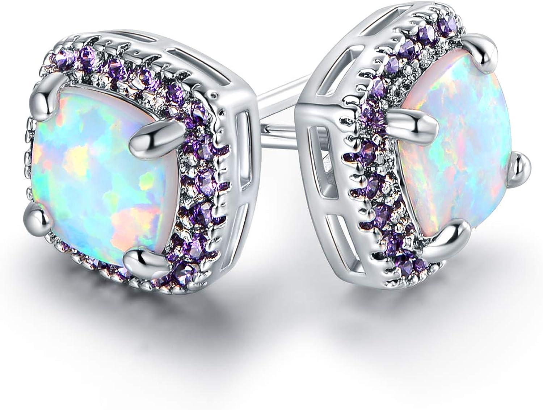 Barzel White Gold Plated Created White Opal Stud Earrings
