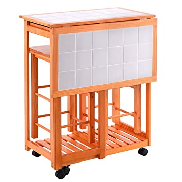Rolling Kitchen Island Trolley Cart Drop Leaf Table 2 Stools Home Breakfast  For Counter Space To