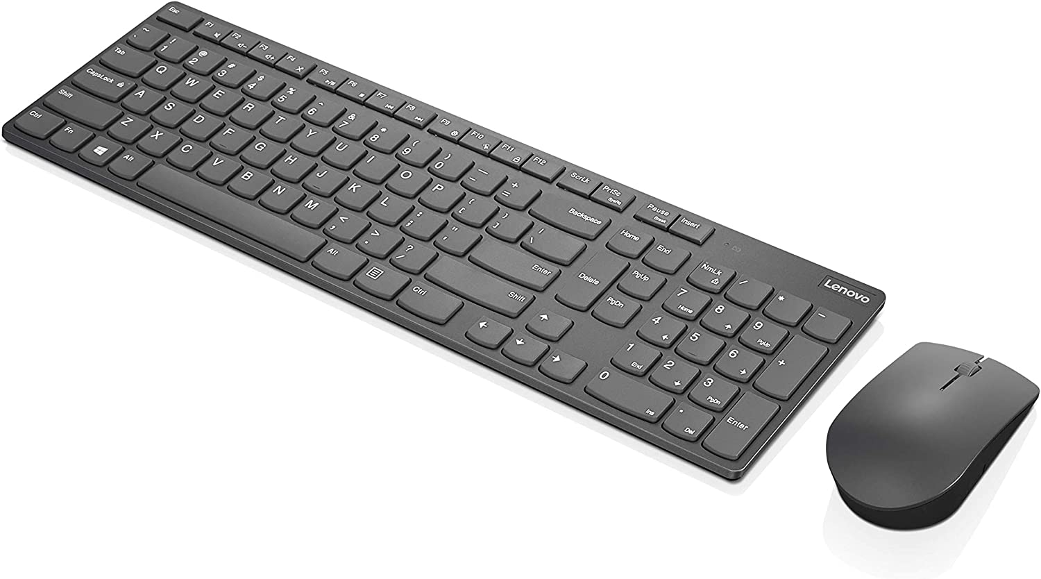 Lenovo Professional Ultraslim Combo Keyboard and Mouse, Wireless, Long Battery Life, Adjustable 3200 DPI Mouse, 2.4 GHz Via Shared Nano USB Receiver, GX30T11591, Iron Grey