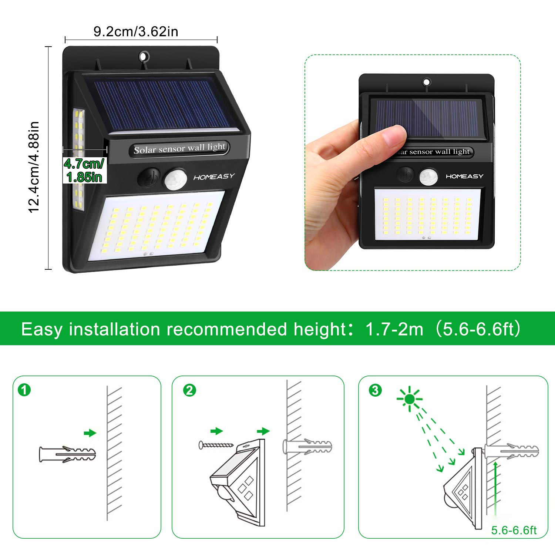 2 Pack Homeasy /Éclairage Ext/érieur Etanche IP 65 avec 270/° D/étecteur de Mouvement S/écurit/é sans Fil 2200mAh Lumi/ère Puissante 3 Modes pour Jardin,Chemin,Patio Lampe Solaire Ext/érieur 100 LED