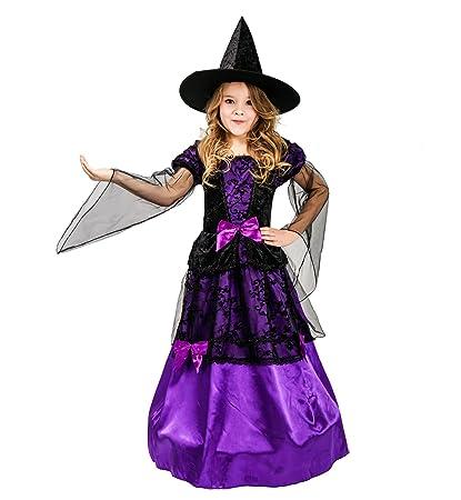 SEA HARE Conjunto de Disfraces de Bruja Morada de niña (M:7 ...