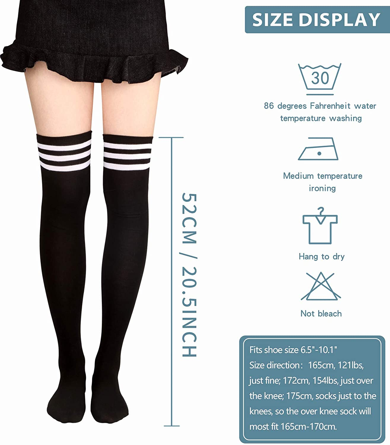 Ayliss Womens Thigh High Socks Long Striped Over the Knee Warm Stocking Leg Warmer Novetly Boot Socks For Costume Party