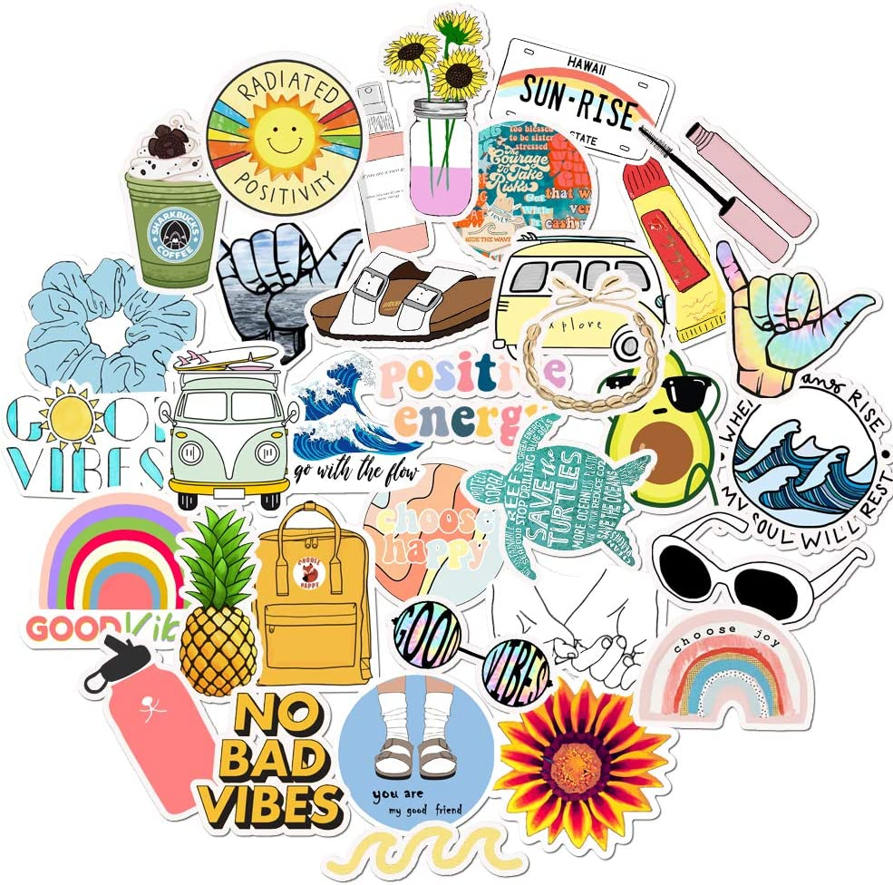 VSCO Stickers Pack for Hydro Flask Water Bottle Stickers Teen Girls Hydroflask Stickers Cute Vinyl Laptop Computer Stickers Aesthetic Kids Adults Stuff