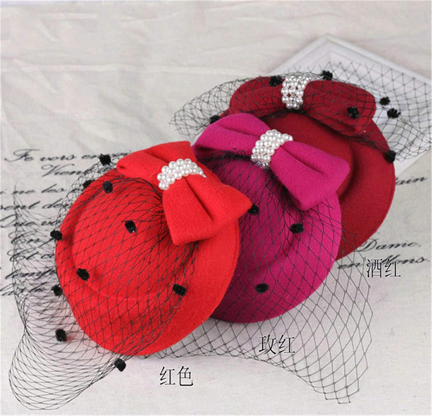 Sunonvi Wedding Hats Dress Fedoras Fascinator Hats for Women Winter Embroidered Veil Cotton Felt Pillbox Hats for Formal Cocktail Party