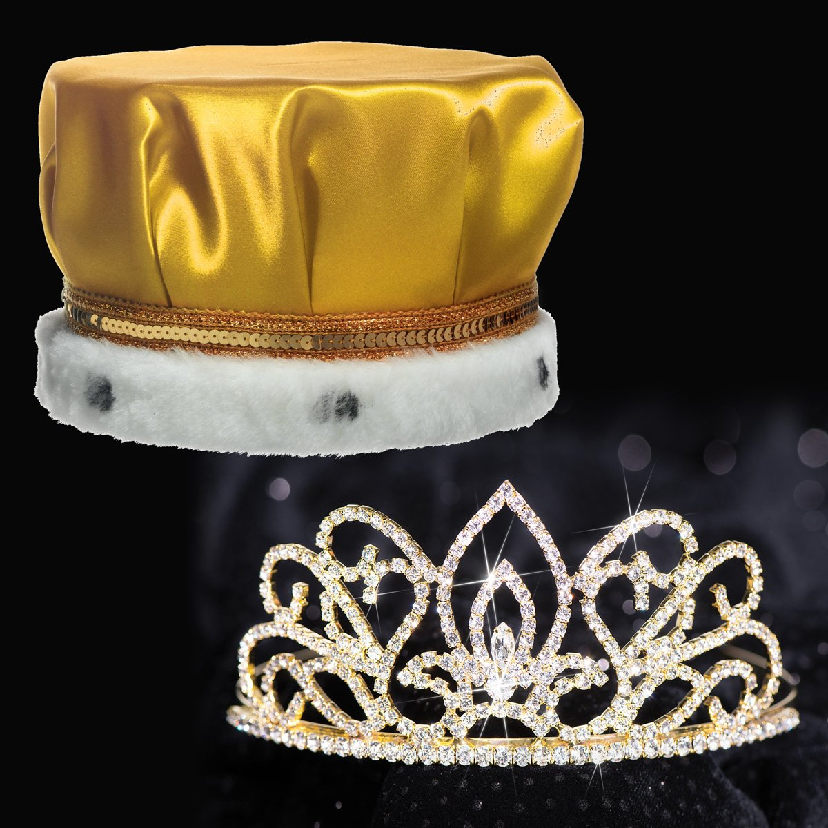 Deluxe Adele Royalty Set, 2 1/4 inch High Gold Adele Tiara and Gold Satin Crown with Gold Sequins, White Fur