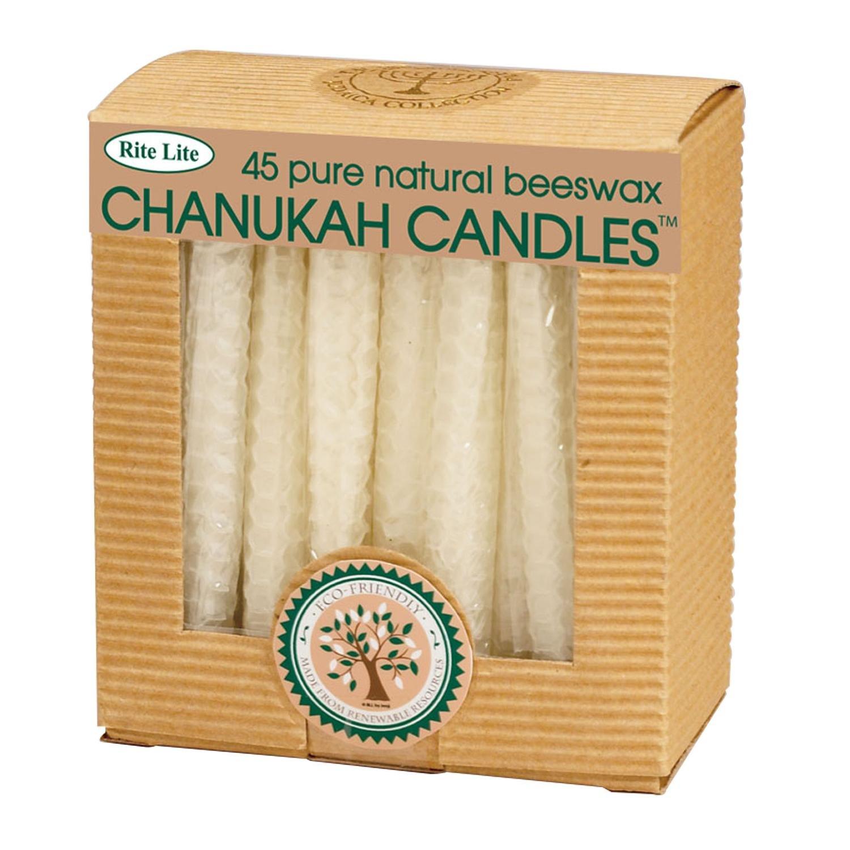 45ct Eco-Friendly Natural Beeswax Chanukah Hanukkah Menorah Candles 4''