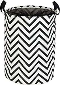 WEHUSE Thick Canvas Laundry Hampers for Kids, 22 Inch Tall Collapsible Dirty Clothes Hamper, Black and White