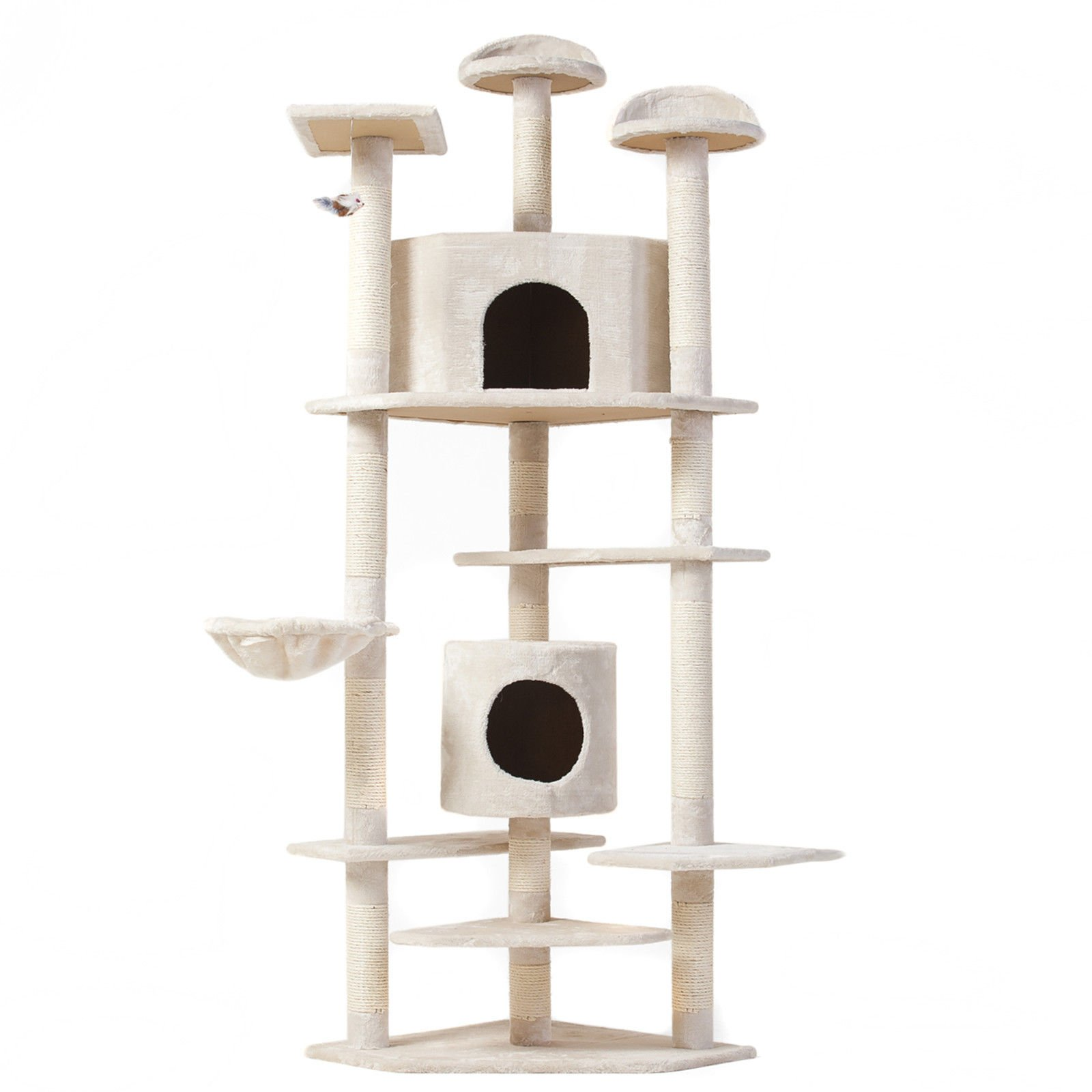 Cat Tree 28'' (L) X 38'' (W) X 80'' (H) Condo Furniture Scratching Post Pet Cat Kitten House High Quality hanging rope and toys by Thailand (Image #1)