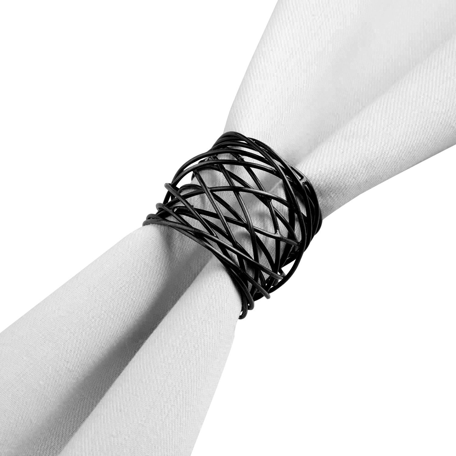 worldexplorer Handmade Round Mesh Black Napkin Rings Holder for Dinning Table Parties Everyday, Set of 12
