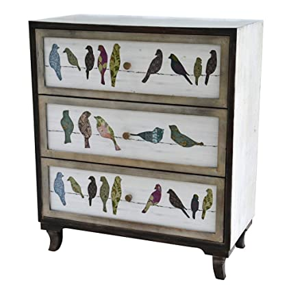 Beau Crestview Wood Chests Birds On A Wire 3 Drawer Painted Chest 31.75 X 37.25  X 16