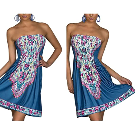 Honghu Vestido Sin Mangas para Mujer Casual Verano sostén sin tirantes Bohemia Dress Tamaño S Azul