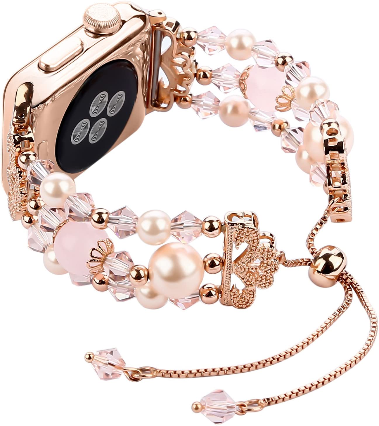 Tomazon Compatible for Apple Watch Bands 42mm 44mm, Adjustable Handmade Crystal Pearl Bracelet Women Female Wristbands Strap for iWatch Series 6/5/4/3/2/1 Sport, Edition, Nike+ (Rose Gold)