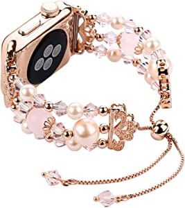 Junwei Bracelet Compatible with Apple Watch Bands 40mm/38mm Series 6/5/4 Women Girl, Cute Handmade Fashion Elastic Beaded Strap Compatible for Apple iWatch Series 3/2/1 - Pink-Updated