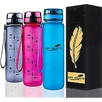DEO VOLENTE 1Litre water bottle with time marker,BPA Free sport water bottle,Leak Proof Flip Top Lid drink bottle with…
