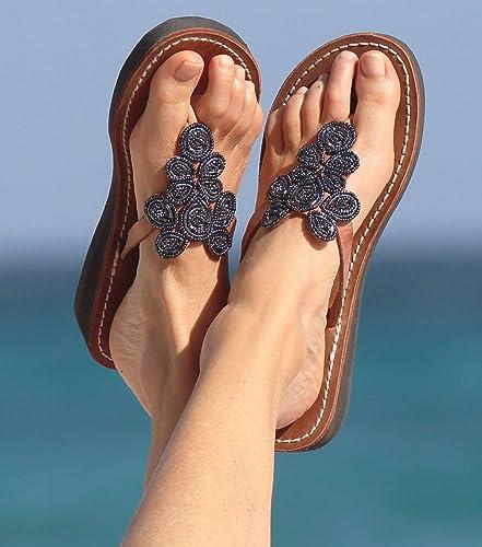 7ef82f236b08b Amazon.com: GlobalHandmade Bohemia Women Bead Flat Sandals Summer ...