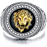 Sterling Silver Animal Kingdom The King Lion Head Ring Men Lion Rock Ring Gift for Father Friend