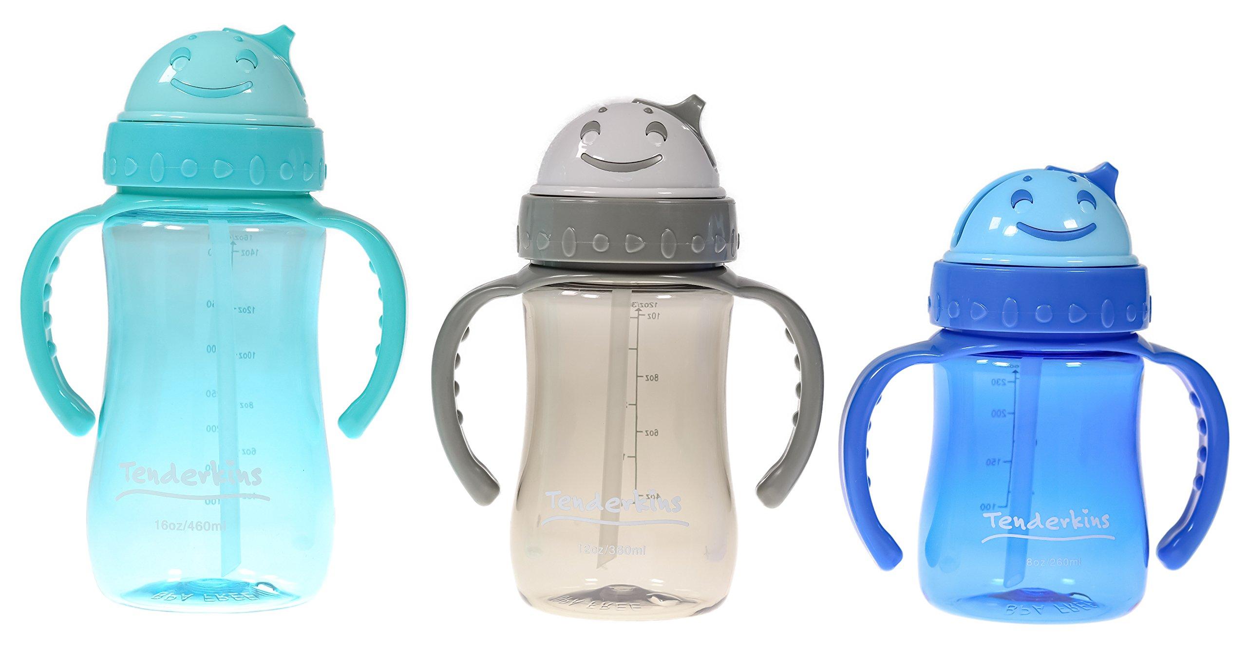 Tenderkins 3-Pack Children's Break-Resistant Water Bottles - 100% Tritan - BPA-Free - 3 Great Sizes Fun Colors - Hide Away Straw - Kid Tested & Approved - by Unity