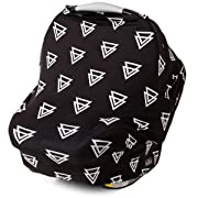 Nursing Cover, Car Seat Canopy, Shopping Cart, High Chair, Stroller and Carseat Covers for Boys and Girls- Best Stretchy Infinity Scarf and Shawl- Multi Use Breastfeeding Cover Up- Triangle Pattern