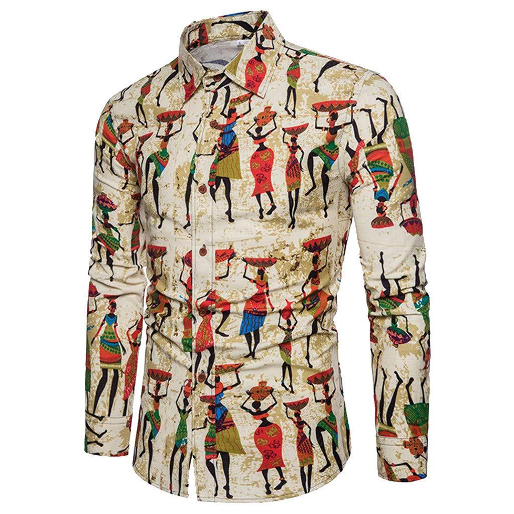¡Gran promoción!Camisas para Hombre + Pantalones Estilo Folk-Custom Casual Manga Larga Negocio Slim Fit Estampado Blusas Tops: Amazon.es: Ropa y accesorios