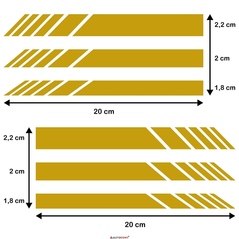 Autodomy Confezione Adesivi per Specchietti Retrovisori Car Stripes Strisce Design Confezione da 6 unit/à con Diverse larghezze per Auto Rosso