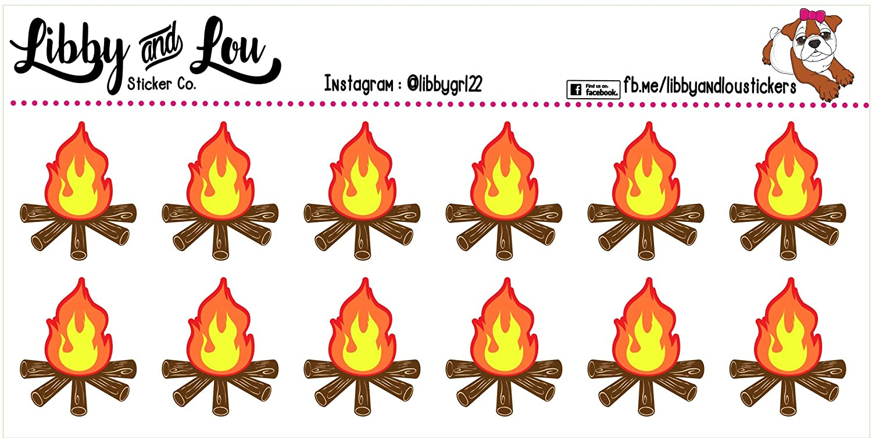 Bon Fire Erin Condren Calendar Planner Sticker Camp Fire Camping Agenda Happy Planner
