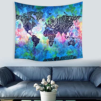Amazon.com: Jeteven World Map Wall Hanging Tapestry Indian Ethnic ...