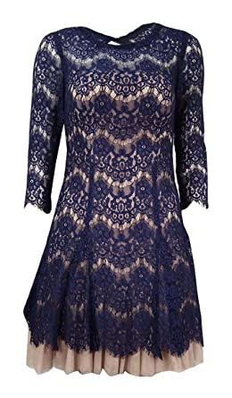 0f3479ff84af9 Betsy & Adam Womens Lace Fit & Flare Cocktail Dress Navy 2 at Amazon ...