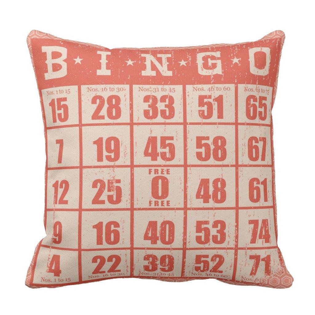 Zazzle Vintage Bingo Card Game Room Throw Pillow 16'' x 16''