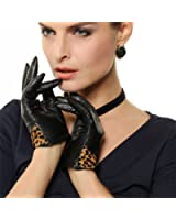 On Sale - Warmen Lady's Winter Warm Genuine Leather Gloves with Leopard Bow