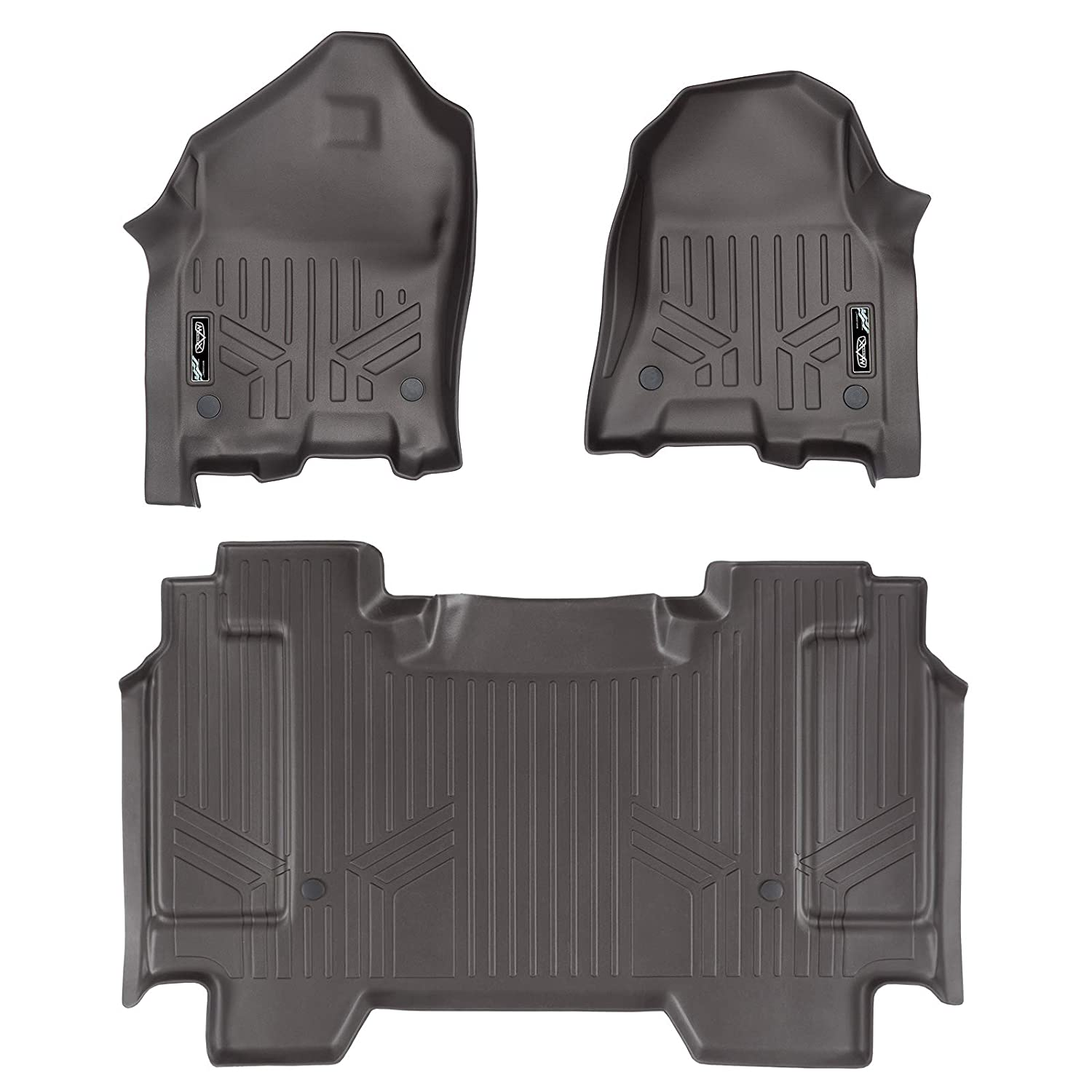 SMARTLINER Custom Fit Floor Mats 2 Row Liner Set Cocoa for 2019 Ram 1500 Crew Cab with 1st Row Captain or Bench Seats