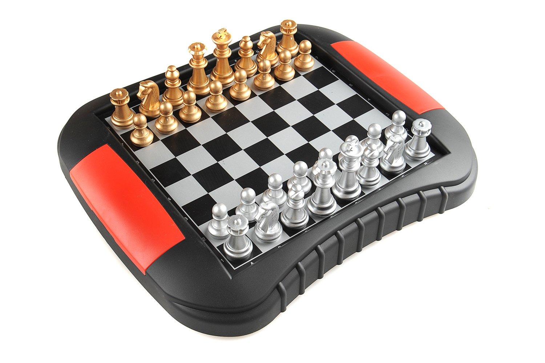 Monaco Schach, magnetisches Board Game (Farbe : gold & silber ), Größe Medium: Abmessungen 27,2 x 23,7 x 3,5 cm, Mod. SC9616 DE