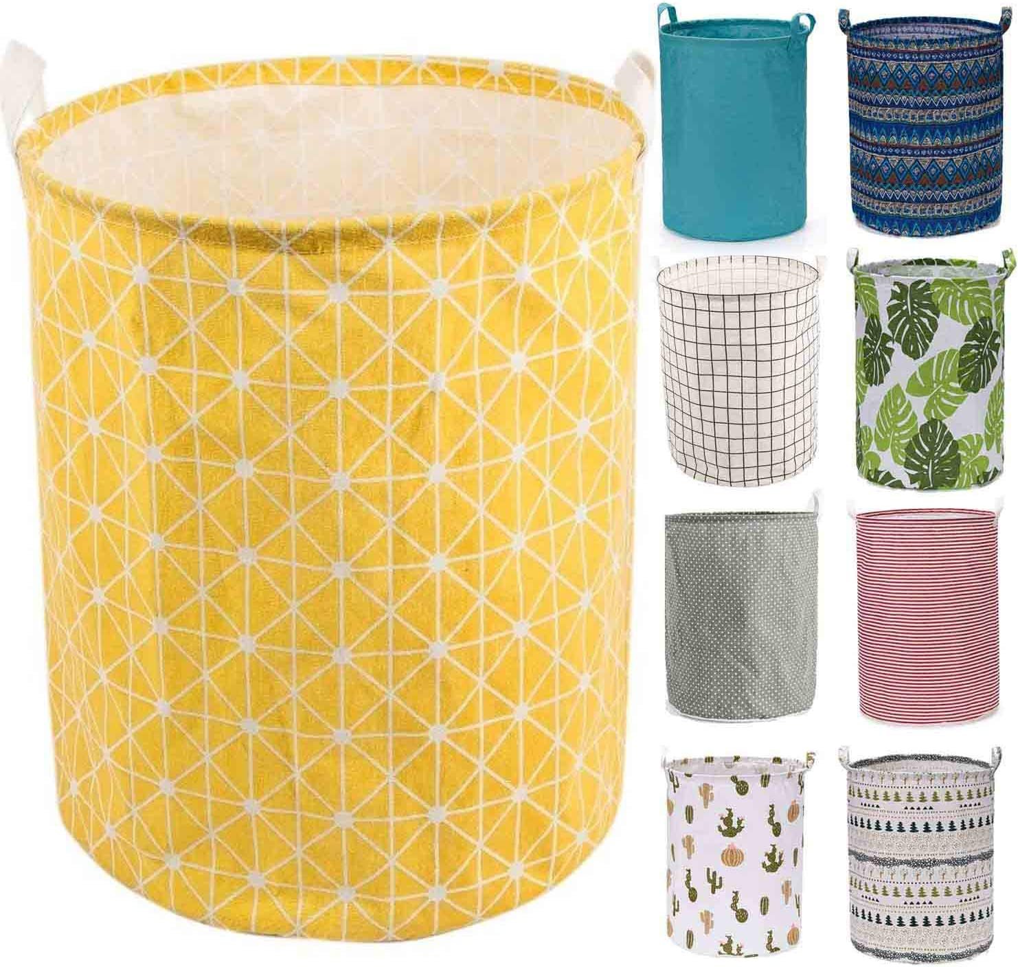 "Every Deco Cylinder Round Single Fabric Plastic Frame Laundry Basket Hamper Storage Bin Organization Collapsible Foldable Toys Clothes - 19.7"" H/Large - Yellow Geometric"