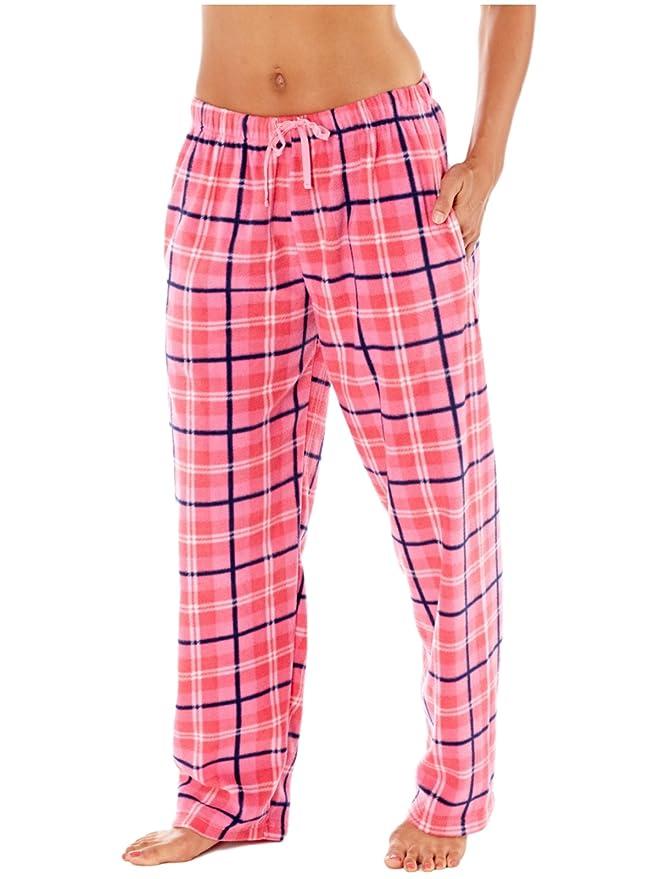 Mujer Selena Secrets Pantalones de andar por casa suave de cuadros Polar Pantalón De Pijama: Amazon.es: Ropa y accesorios
