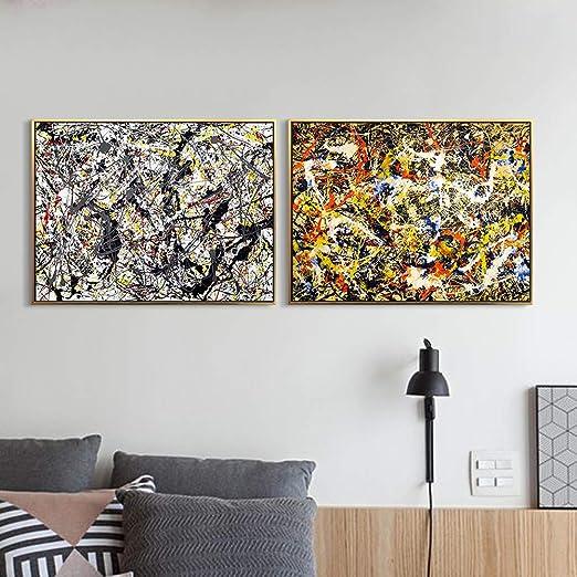 Jackson Pollock NUmber 28  oil Paint  Re print Framed CANVAS Wall Art Home Decor