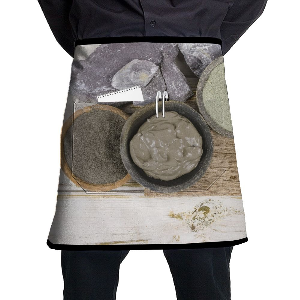 XiHuan Grill Aprons Kitchen Chef Bib Ancient Minerals Green And Blue Clay Powder And Mud Mask For Spa Beauty Concept Professional For BBQ Baking Cooking For Men Women Pockets