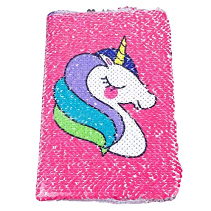 Zhongjiany - Diario de unicornio A5 con lentejuelas y ...