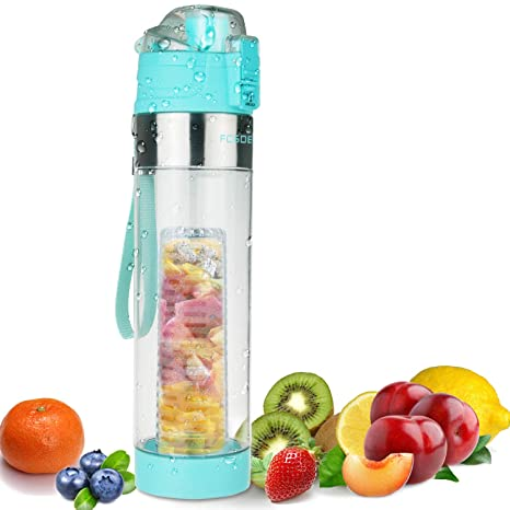 FCSDETAIL Botella de Agua con Filtro Infusor de Frutas 700ml, Cepillo de Botella Adicional,